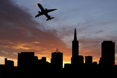 Plane departing San Francisco Stock Photography