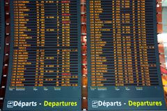 Plane departure board Stock Image
