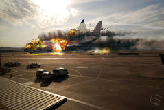Plane disaster. A big plane crashes on the tarmac of the airport at the time of the landing Stock Photography