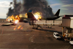 Plane disaster. A big plane crashed on the tarmac of the airport, near the terminal Stock Photos
