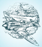 Plane drawing Stock Photo