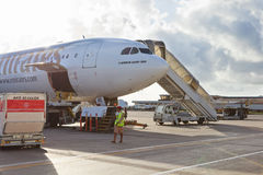 Plane in Dubai airport Royalty Free Stock Photos