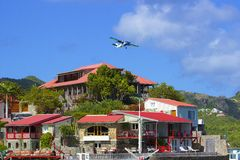 Plane and Eden Rock hotel in St Barths, Caribbean Stock Image
