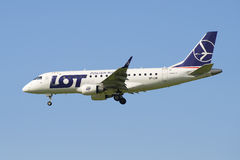 The plane Embraer E-170 (SP-LDE) LOT Polish Airlines. View the profile Stock Photography