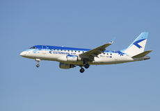 The plane Embraer ERJ-170 (ES-AED) company Estonian Air before landing in Pulkovo airport Stock Image