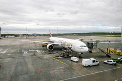 The plane of Emirates airline at the international airport Pulko Royalty Free Stock Photography
