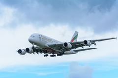 Plane from Emirates A6-EEW Airbus A380-800 is landing at Schiphol Airport. Royalty Free Stock Image