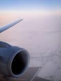 Plane engine, in flight Royalty Free Stock Photo