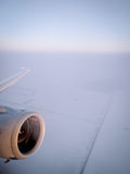 Plane engine, in flight Royalty Free Stock Photography
