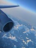 Plane engine, in flight Stock Photography