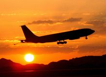 Plane in the evening Stock Photo