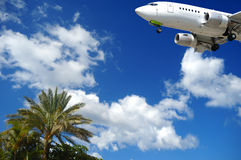 Plane and exotic destination Royalty Free Stock Photography