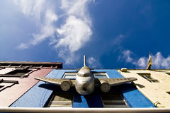 Plane on facade Stock Image