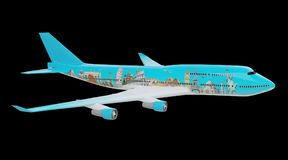 Plane with famous landmarks of the world 3D rendering. Plane with famous landmarks of the world isolated on black background 3D rendering Royalty Free Stock Image