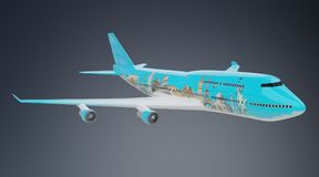 Plane with famous landmarks of the world 3D rendering. Plane with famous landmarks of the world isolated on grey background 3D rendering Royalty Free Stock Photography