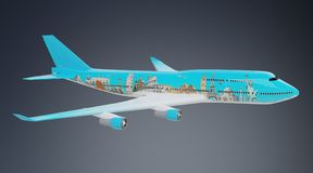 Plane with famous landmarks of the world 3D rendering. Plane with famous landmarks of the world isolated on grey background 3D rendering Royalty Free Stock Photos