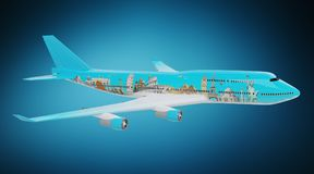 Plane with famous landmarks of the world 3D rendering. Plane with famous landmarks of the world isolated on blue background 3D rendering Stock Photos