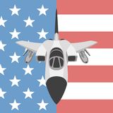 Plane fighter  on the background usa flag. Flat Royalty Free Stock Photos