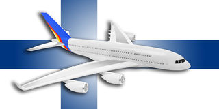 Plane and Finland flag. Plane on the background flag of the Finland. Travel concept Royalty Free Stock Photo