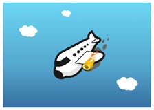 Plane on fire. Illustration of a burning plane Royalty Free Stock Image