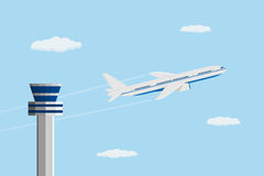Plane. Flat style picture of civilian plane in front of control tower, traveling and transportation concept Royalty Free Stock Photos