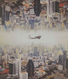 The plane flew over the city, Bangkok Royalty Free Stock Image