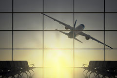 Plane flies away from airport Stock Photo