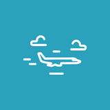 Plane flies through clouds. Vector line icon Royalty Free Stock Photography