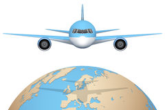 Plane flies over globe. Stock Photography