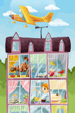 House and the plane character cartoon style  illustration Royalty Free Stock Photo