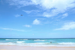 Plane flies over tropical beach Royalty Free Stock Photo