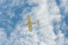The plane flies in the sky. Royalty Free Stock Images