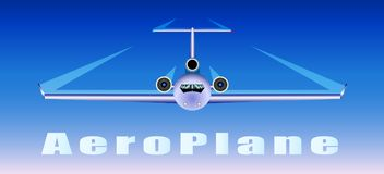 The plane flies in the sky. Vector Illustration Stock Photo
