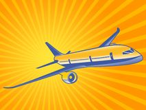 Plane flies to the right Royalty Free Stock Photos