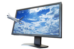 The plane flies from the TV screen as concept of 3D LCD TV. Isolated on white background Stock Photo