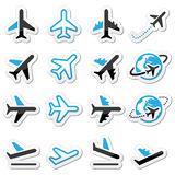 Plane, flight, airport  black and blue icons set Stock Photos