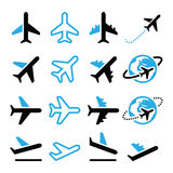 Plane, flight, airport  black and blue icons set. Vector icons set of flying plane isolated on white Royalty Free Stock Images