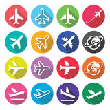 Plane, flight, airport - flat design icons Royalty Free Stock Image