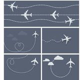 Plane flight - dotted trace of the airplane Stock Photos