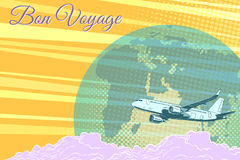 Plane flight travel tourism retro background Bon voyage Stock Images