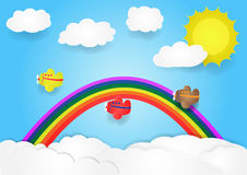 Plane fly in sky with cloud and rainbow, vector, copy space for text, illustration Royalty Free Stock Photo