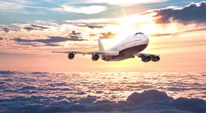 The plane fly in the sky. 3d rendering and illustration stock illustration