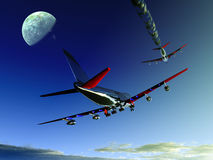 Plane Flying 10. A pair of planes flying high in the sky, one plane has a jet stream Stock Photo