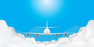 Plane is flying. In blue sky with clouds(, CMYK Stock Photos