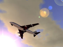Plane Flying 2. A plane flying high in the sky Royalty Free Stock Photography