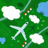 Plane flying above rural landscape Stock Images