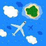 Plane flying above sea Stock Photo