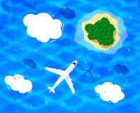 Plane flying above sea. Plane flying near clouds above sea water and island vector illustration