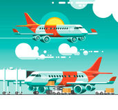 The plane flying between the clouds on a background of the sun. 3d vector illustration Royalty Free Stock Photo