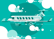 The plane flying between the clouds on a background of the sun. 3d vector illustration Royalty Free Stock Image